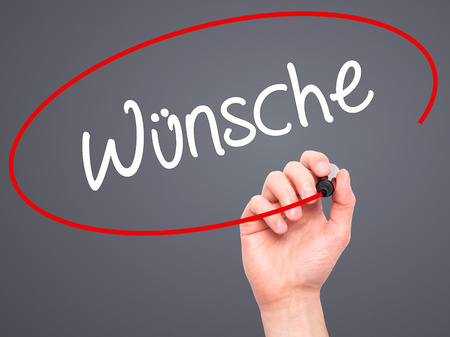 highway love: Man Hand writing Wunsche (Wishes in German) with black marker on visual screen. Isolated on background. Business, technology, internet concept. Stock Photo