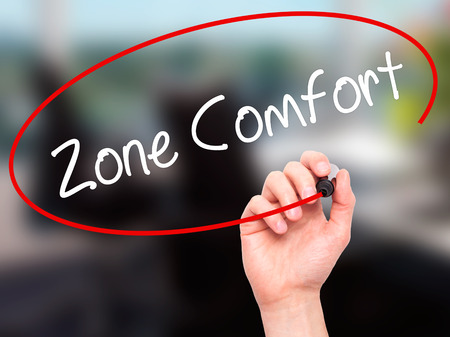 quo: Man Hand writing Zone Comfort with black marker on visual screen. Isolated on office. Business,  internet concept. Stock Photo