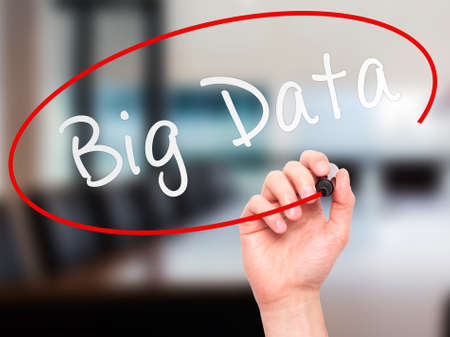 meta analysis: Man Hand writing Big Data with marker on transparent wipe board. Isolated on office. Business, internet, technology concept. Stock Photo Stock Photo