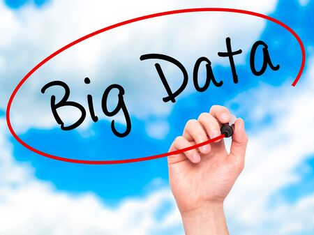 meta analysis: Man Hand writing Big Data with marker on transparent wipe board. Isolated on sky. Business, internet, technology concept. Stock Photo