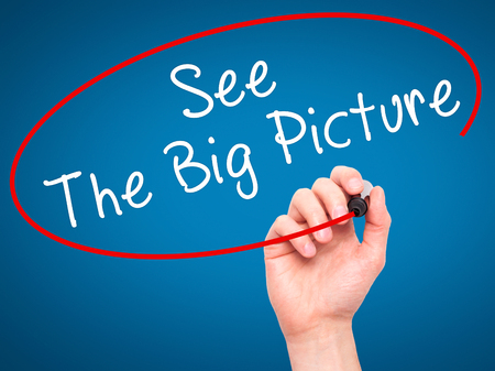 big picture: Man Hand writing See The Big Picture with black marker on visual screen. Isolated on blue. Business, technology, internet concept. Stock Image