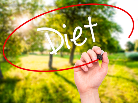 Man Hand writing Diet (in Portuguese)  with black marker on visual screen. Isolated on nature. Business, technology, internet concept. Stock Photo