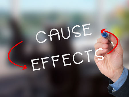 cause and effect: Man Hand writing Cause and Effect concept with marker on transparent wipe board. Cause, effects concept.  Stock Image