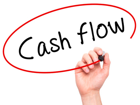 Man Hand writing Cash flow with black marker on visual screen. Isolated on white. Business, technology, internet concept. Stock Image Foto de archivo