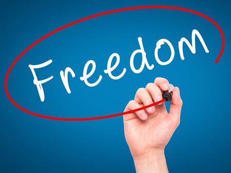 Man Hand writing Freedom with black marker on visual screen. Isolated on blue. Business, technology, internet concept. Stock Image