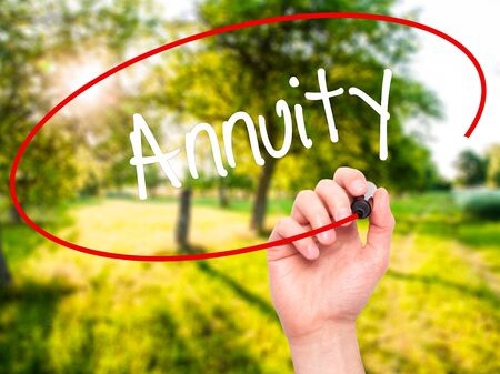 variable rate: Man Hand writing Annuity with black marker on visual screen. Isolated on nature. Business, technology, internet concept. Stock Photo