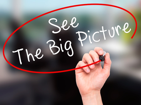 big picture: Man Hand writing See The Big Picture with black marker on visual screen. Isolated on office. Business, technology, internet concept. Stock Image
