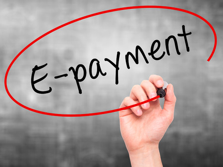 epayment: Man Hand writing E-payment with black marker on visual screen. Isolated on grey. Business, technology, internet concept. Stock Image