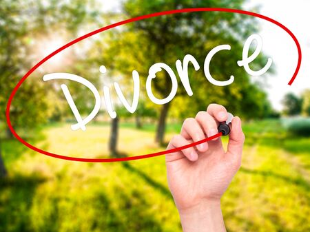ex wife: Man Hand writing Divorce  with black marker on visual screen. Isolated on nature. Business, technology, internet concept. Stock Photo