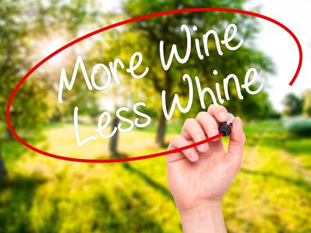 whine: Man Hand writing More Wine Less Whine with black marker on visual screen. Isolated on nature. Business, technology, internet concept. Stock Photo