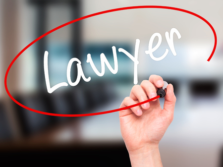 lawer: Man Hand writing Lawyer with black marker on visual screen. Isolated on background. Business, technology, internet concept. Stock Photo