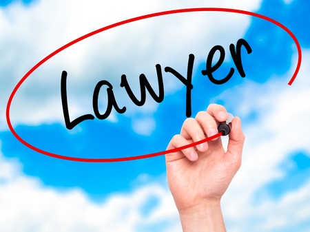 court process: Man Hand writing Lawyer with black marker on visual screen. Isolated on background. Business, technology, internet concept. Stock Photo
