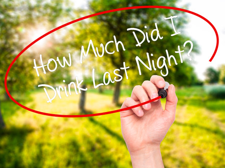 memory drugs: Man Hand writing How Much Did I Drink Last Night? with black marker on visual screen. Isolated on background. Business, technology, internet concept. Stock Photo