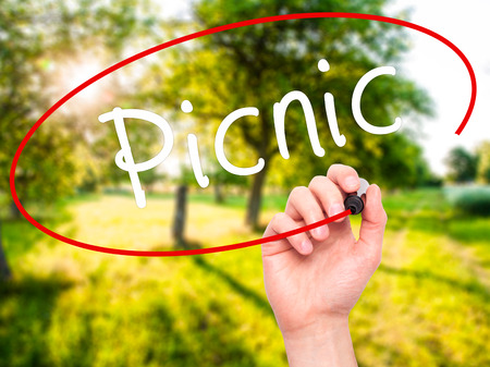 picknick: Man Hand writing Picnic with black marker on visual screen. Isolated on nature. Business, technology, internet concept. Stock Photo