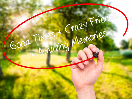 positiveness: Man Hand writing Good Times + Crazy Friends = Amazing Memories with black marker on visual screen. Isolated on background. Business, technology, internet concept. Stock Photo