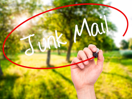 solicitors: Man Hand writing Junk Mail with black marker on visual screen. Isolated on nature. Business, technology, internet concept. Stock Photo Stock Photo