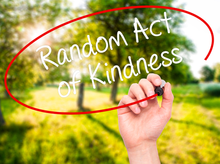 helping others: Man Hand writing Random Act of Kindness with black marker on visual screen. Isolated on nature. Business, technology, internet concept. Stock Photo