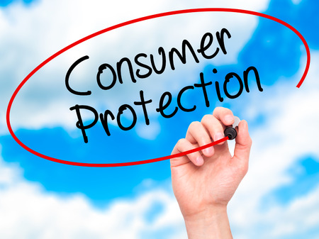 consumer rights: Man Hand writing Consumer Protection  with black marker on visual screen. Isolated on background. Business, technology, internet concept. Stock Photo Stock Photo