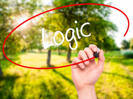algebraic: Man Hand writing Logic with black marker on visual screen. Isolated on nature. Business, technology, internet concept.
