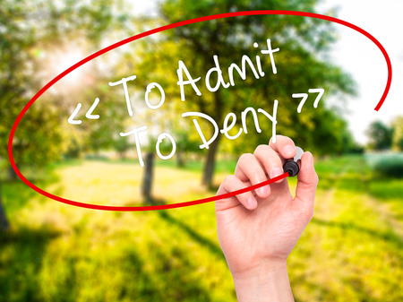 deny: Man Hand writing To Admit - To Deny with black marker on visual screen. Isolated on background. Business, technology, internet concept. Stock Photo
