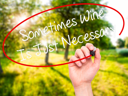 necessary: Man Hand writing Sometimes Wine Is Just Necessary with black marker on visual screen. Isolated on nature. Business, technology, internet concept. Stock Photo