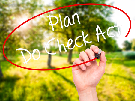 plan do check act: Man Hand writing Plan Do Check Act  with black marker on visual screen. Isolated on nature. Business, technology, internet concept. Stock Photo Stock Photo