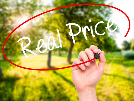 Man Hand writing Real Price with black marker on visual screen. Isolated on background. Business, technology, internet concept. Stock Photo 免版税图像