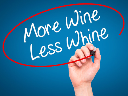 whine: Man Hand writing More Wine Less Whine with black marker on visual screen. Isolated on blue. Business, technology, internet concept. Stock Photo