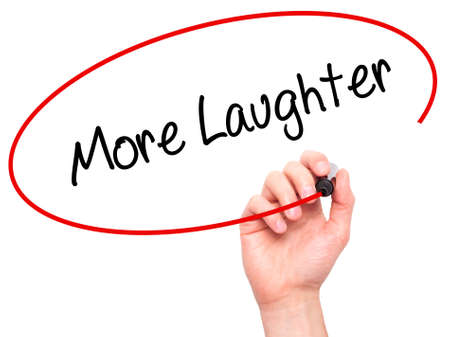 laughter: Man Hand writing More Laughter with black marker on visual screen. Isolated on white. Business, technology, internet concept. Stock Photo