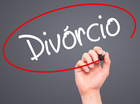 law of brazil: Man Hand writing Divorcio (Divorce in Portuguese) with black marker on visual screen. Isolated on background. Business, technology, internet concept. Stock Photo Stock Photo