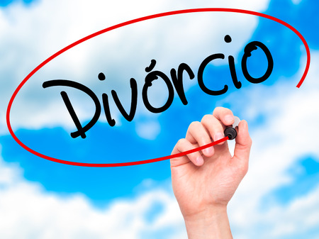 splitting up: Man Hand writing Divorcio (Divorce in Portuguese) with black marker on visual screen. Isolated on background. Business, technology, internet concept. Stock Photo Stock Photo