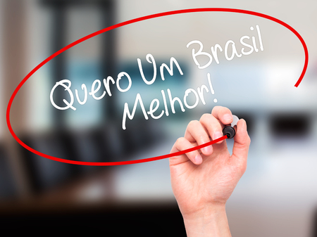 protestors: Man Hand writing Quero Um Brasil Melhor!  ( I want a Better Brazil in Portuguese)with black marker on visual screen. Isolated on office. Business, technology, internet concept. Stock Photo