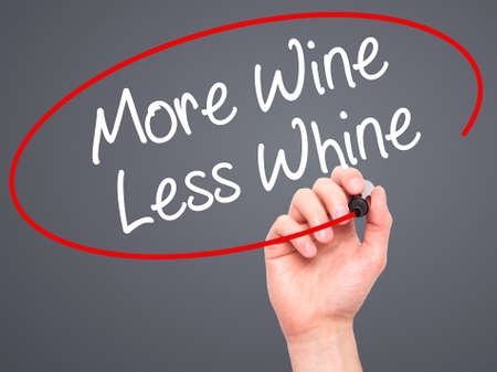 whine: Man Hand writing More Wine Less Whine with black marker on visual screen. Isolated on grey. Business, technology, internet concept. Stock Photo