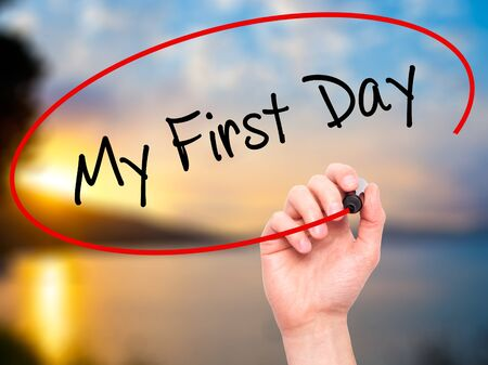 first year student: Man Hand writing My First Day with black marker on visual screen. Isolated on nature. Business, technology, internet concept. Stock Photo