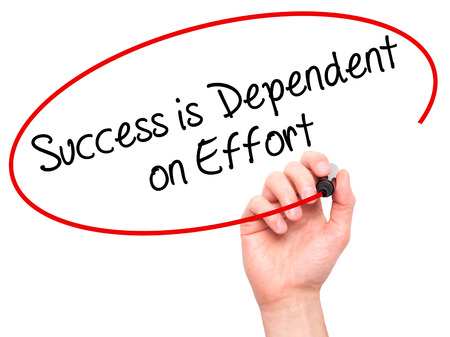 dependent: Man Hand writing Success is Dependent on Effort with black marker on visual screen. Isolated on white. Business, technology, internet concept. Stock Photo
