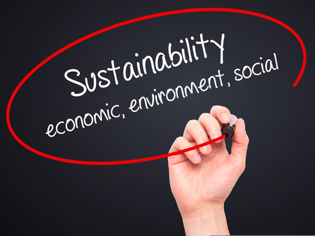 economic theory: Man Hand writing Sustainability  economic, environment, social with black marker on visual screen. Isolated on black. Business, technology, internet concept.