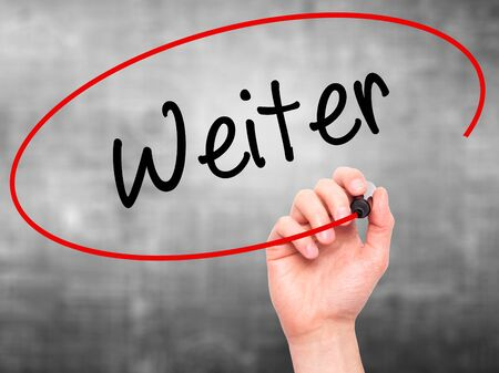 solutions freeway: Man Hand writing Weiter (Continue in German)  with black marker on visual screen. Isolated on background. Business, technology, internet concept. Stock Photo