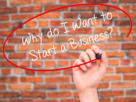 sucessful: Man Hand writing Why do I Want to Start a Business? with black marker on visual screen. Isolated on bricks. Business, technology, internet concept. Stock Photo