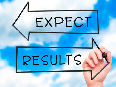 surpass: Man Hand writing Expect and Results with marker on transparent wipe board. Isolated on sky. Business, internet, technology concept. Stock Photo
