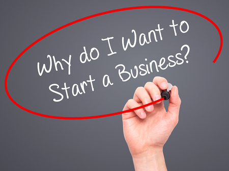 sucessful: Man Hand writing Why do I Want to Start a Business? with black marker on visual screen. Isolated on grey. Business, technology, internet concept. Stock Photo Stock Photo