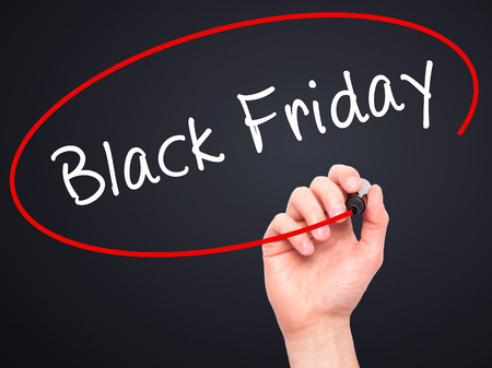 writing black: Man Hand writing Black Friday with black marker on visual screen. Isolated on black. Business, technology, internet concept. Stock Image Stock Photo