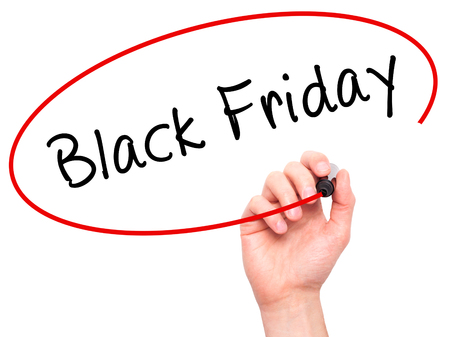 writing black: Man Hand writing Black Friday with black marker on visual screen. Isolated on white. Business, technology, internet concept. Stock Image Stock Photo