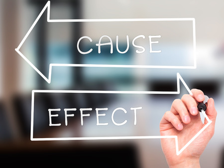 cause and effect: Man Hand writing Cause and Effect with marker on transparent wipe board. Isolated on office. Business, internet, technology concept. Stock Photo