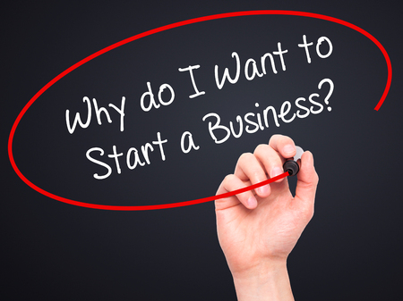 why: Man Hand writing Why do I Want to Start a Business? with black marker on visual screen. Isolated on black. Business, technology, internet concept. Stock Photo Stock Photo