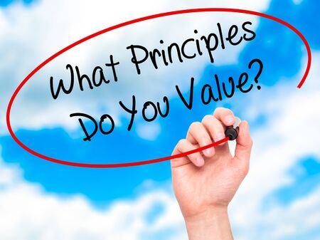 morals: Man Hand writing What Principles Do You Value? with black marker on visual screen. Isolated on sky. Business, technology, internet concept. Stock Photo