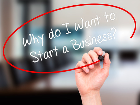 sucessful: Man Hand writing Why do I Want to Start a Business? with black marker on visual screen. Isolated on office. Business, technology, internet concept. Stock Photo