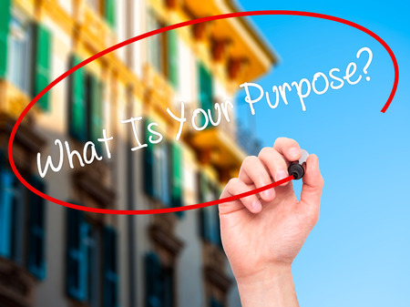 subsistence: Man Hand writing What Is Your Purpose?  with black marker on visual screen. Isolated on background. Business, technology, internet concept. Stock Photo Stock Photo