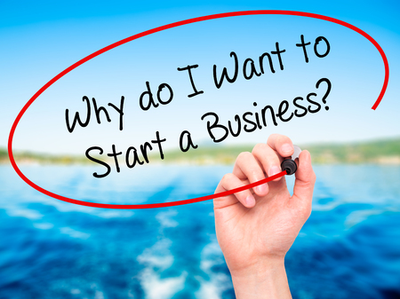 sucessful: Man Hand writing Why do I Want to Start a Business? with black marker on visual screen. Isolated on nature. Business, technology, internet concept. Stock Photo