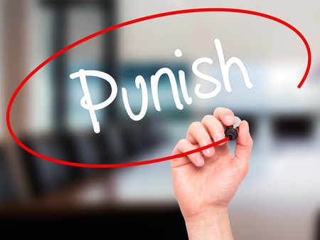 enforcing the law: Man Hand writing Punish with black marker on visual screen. Isolated on background. Business, technology, internet concept. Stock Photo