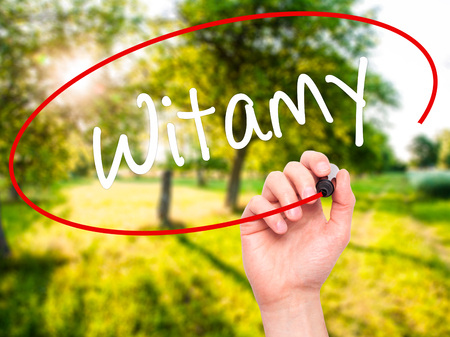 appoint: Man Hand writing Witamy (Welcome in Polish) with black marker on visual screen. Isolated on background. Business, technology, internet concept. Stock Photo Stock Photo